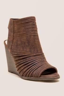 Fergalicious Heather Peep Toe Wedge - Cognac
