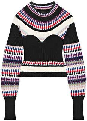 Burberry Ribbed Intarsia-Knit Sweater