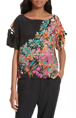 Women's Tracy Reese Tie Sleeve Floral Silk Top $398 thestylecure.com