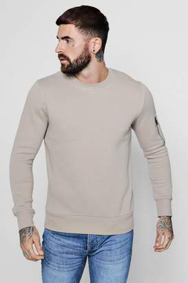 boohoo MA1 Pocket Sleeve Detail Sweater