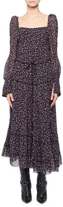 Altuzarra Square-Neck Tie-Waist Long-Sleeve Floral-Print Georgette Dress