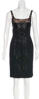 Carmen Marc Valvo Sequined Cocktail Dress w/ Tags