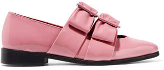 Ganni Idette Bow-embellished Patent-leather Point-toe Flats - Baby pink