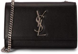 3409690db1d Saint Laurent Chain Kate Textured Leather Interlocking Metal Signature Small  Black