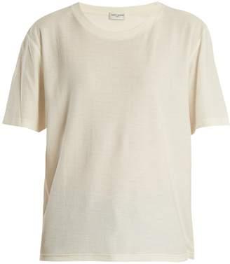 Saint Laurent Round-neck cotton-jersey T-shirt