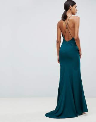 Jarlo fishtail maxi dress with strappy back in green