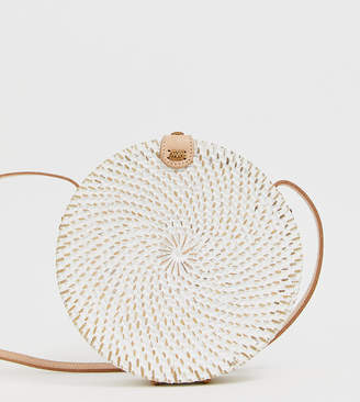 Ellen & James handmade round straw cross body bag in white wash