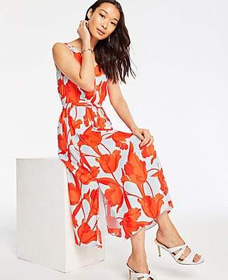 Ann Taylor Petite Tulip Belted Maxi Dress