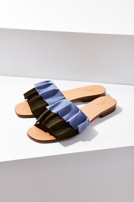 Urban Outfitters Suede Ruffle Slide $54 thestylecure.com