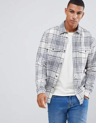 Solid check overshirt in gray