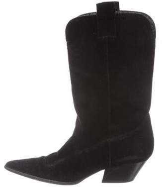 Michael Kors Suede Mid-Calf Pointed-Toe Boots Black Suede Mid-Calf Pointed-Toe Boots