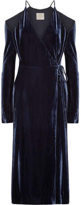 Dion Lee Cold-shoulder Velvet Wrap Dress - Navy