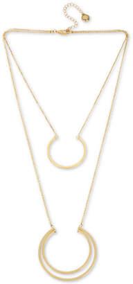 "BCBGMAXAZRIA Gold-Tone Double-Layer Geometric Pendant Necklace, 18"" + 3"" extender"