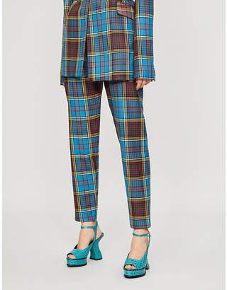 House of Holland Tartan high-rise wool trousers