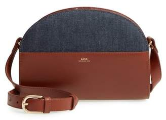 A.P.C. Sac Demilune Leather & Denim Crossbody Bag
