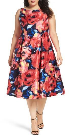 Adrianna PapellPlus Size Women's Adrianna Papell Floral Mikado Party Dress