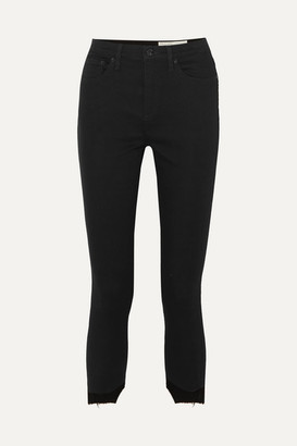 Rag & Bone Nina Cropped Distressed High-rise Skinny Jeans - Black