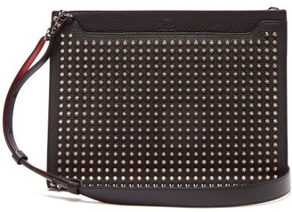 3a960160f28 Christian Louboutin Skypouch Spike Embellished Leather Pouch - Mens - Black
