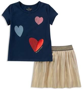 Kate Spade Girls' Foil Heart Tee & Metallic Skirt Set - Baby