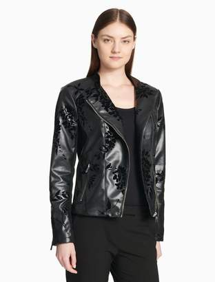 Calvin Klein embossed faux leather moto jacket