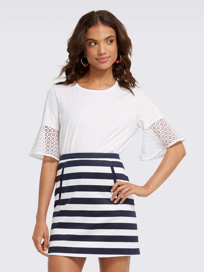 Gingham Lattice Bell Sleeve Tee