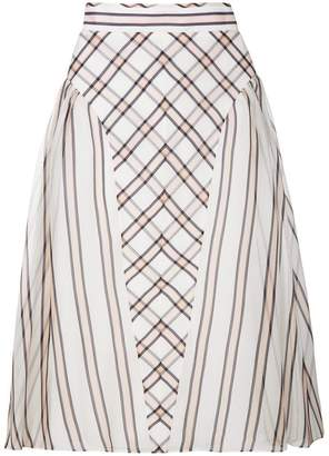 Fendi horizontal contrasting stripe print a-line skirt