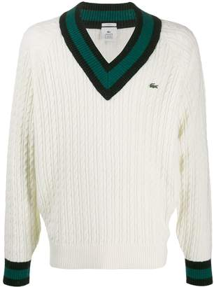 Lacoste cable-knit v-neck jumper