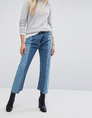 Evidnt EVIDNT Two Tone Crop Mom Jeans with Uneven Hem