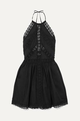 Charo Ruiz - Crocheted Lace-paneled Cotton-blend Mini Dress - Black