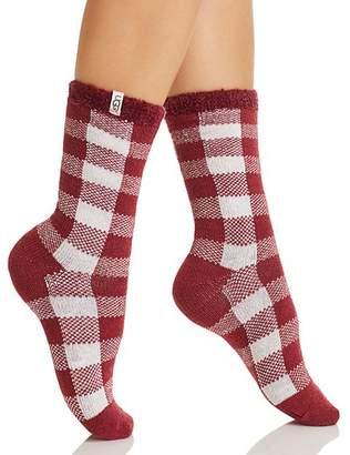 UGG Vanna Check Fleece-Lined Socks