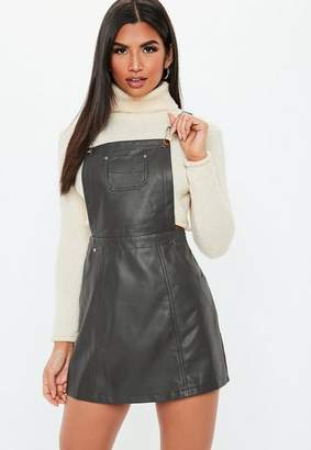 Missguided Gray Faux Leather Pinafore Dress
