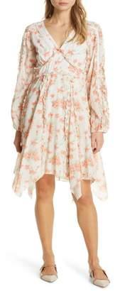 Love Sam Spring Foliage Long Sleeve Handkerchief Hem Dress