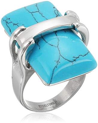 Stainless Steel with Simulated Turquoise Center Stone Ring