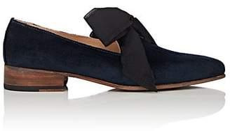 Esquivel Women's Liz Bow-Embellished Velvet Loafers - Blue