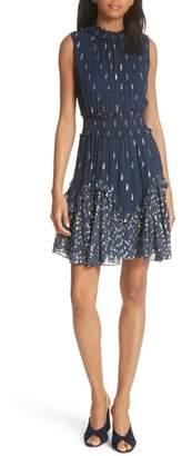 Rebecca Taylor Smocked Metallic Silk Dress