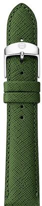 MICHELE Dark Green Saffiano Leather Watch Strap, 16mm $80 thestylecure.com
