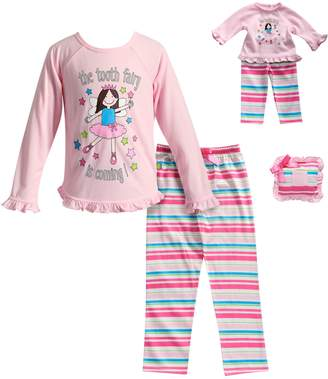 "Dollie & Me Girls 4-14 The Tooth Fairy Is Coming"" Striped Pajama Set with Tooth Pillow"