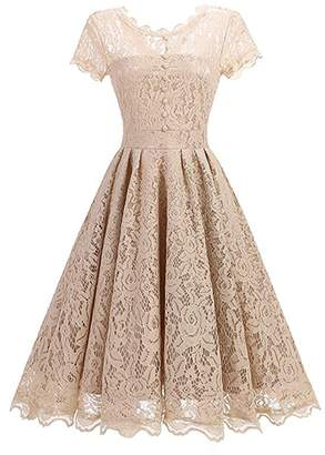BeneGreat Women's Vintage Floral Lace Cap Sleeve Rockabilly Cocktail Party Swing Bridesmaid Dress S