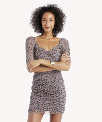 Sole Society Ditsy Drift Ruched Sleeve Mesh Dress