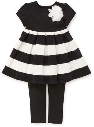 Little Me Stripe Dress & Leggings Set
