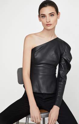 BCBGMAXAZRIA Lilyan Faux-Leather Peplum Top