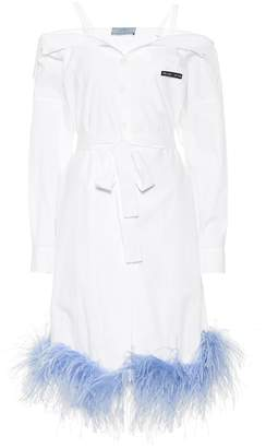 Prada Feather-trimmed cotton dress