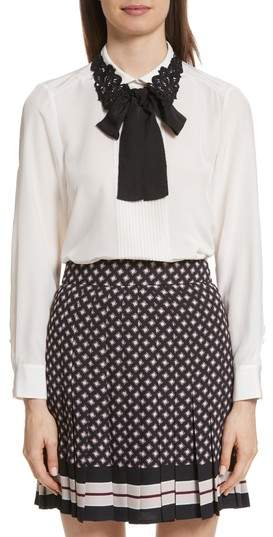 Kate Spade New York Lace Collar Silk Shirt