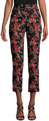Dolce & Gabbana Rose-Print Cropped Trouser