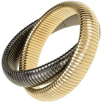 Janis Savitt High Polished Gold and Gunmetal Double Cobra Bracelet