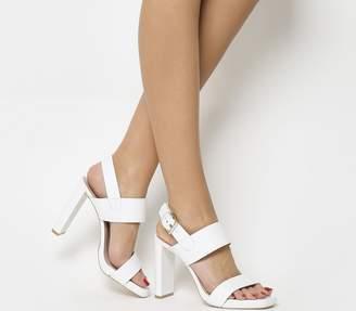 148be3c485b Office Howl Slingback Slim Block Heels White Leather