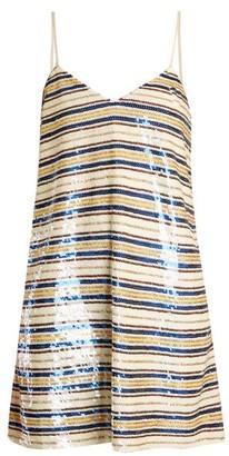 Ashish Striped Sequin Embellished Mini Dress - Womens - Cream Multi