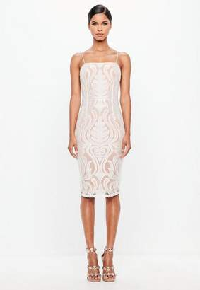 Missguided White Baroque Lace Overlay Midi Dress