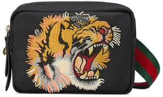 Gucci black Shoulder bag with panther face appliqué