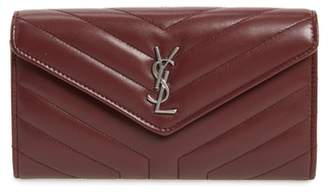 Saint Laurent Lou Lou Large Matelasse Leather Flap Wallet
